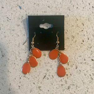 Orange tear shape earrings